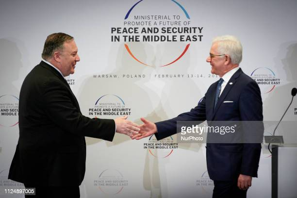 US Secretary of State Mike Pompeo and Polish FM Jacek Czaputowicz are seen at the final press conference of the Middle Easat summit in Warsaw Poland...