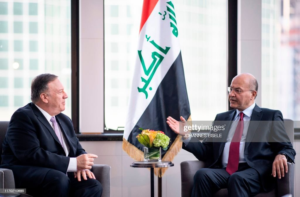 U.S. keeps pressure on Iraq with 45-day sanctions waiver Secretary-of-state-mike-pompeo-and-president-of-iraq-barham-ahmed-picture-id1170210885