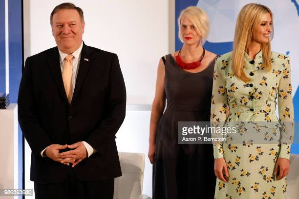 Secretary of State Mike Pompeo and Special Advisor to the President Ivanka Trump look on during an event marking the release of the Trafficking in...