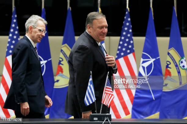 Secretary of State Mike Pompeo and US Ambassador to Greece US Geoffrey R. Pyatt arrive for a meeting with Greek Defense Minister Nikos...