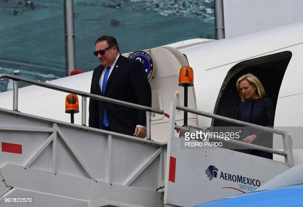 US Secretary of State Mike Pompeo and US Homeland Security Secretary Kirstjen Nielsen arrive at Benito Juarez International Airport in Mexico City on...