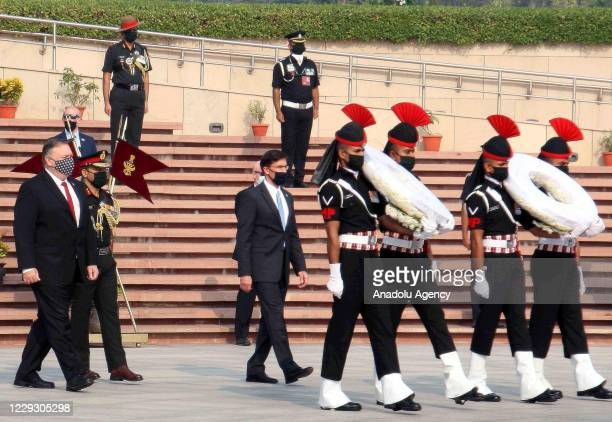 Secretary of State Mike Pompeo and U.S. Secretary of Defence Mark Esper pay their tributes at the National War Memorial in New Delhi, India on...