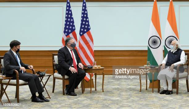 Secretary of State Mike Pompeo and U.S. Secretary of Defence Mark Esper meet Indian Prime Minister, Narendra Modi in New Delhi, India on October 27,...