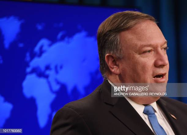 US Secretary of State Mike Pompeo announces the creation of the 'Iran Action Group' during a press briefing at the State department in Washington DC...