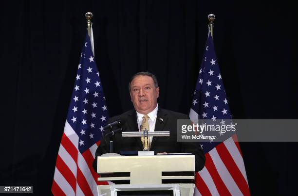 Secretary of State Mike Pompeo answers questions at a press briefing June 11, 2018 in Singapore. Pompeo answered a range of questions related...