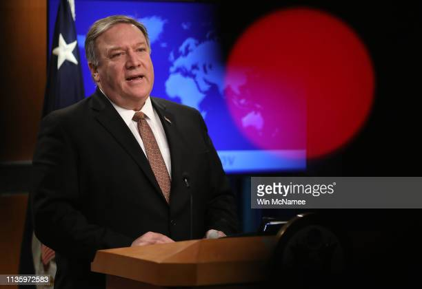 Secretary of State Mike Pompeo answers questions at the U.S. State Department March 15, 2019 in Washington, DC. During his remarks Pompeo said...