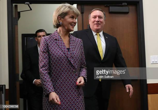 S Secretary of State Mike Pompeo arrives at a meeting with Australian Minister for Foreign Affairs Julie Bishop during the AustraliaUS Ministerial...