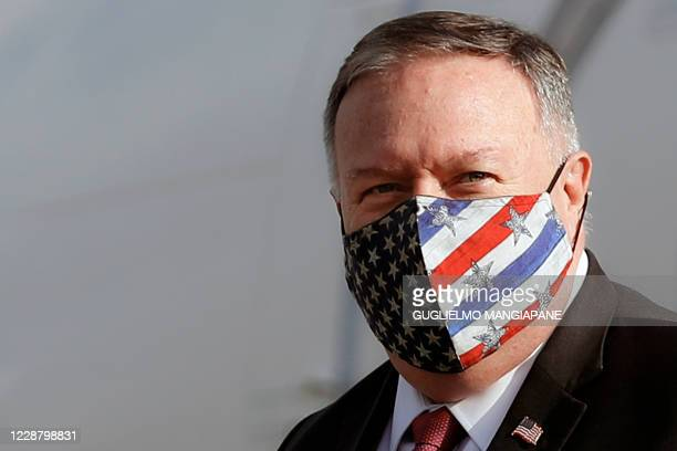 Secretary of State Mike Pompeo arrives at Ciampino airport in Rome, Italy, on September 30, 2020. - Secretary of State Mike Pompeo visits Rome on...