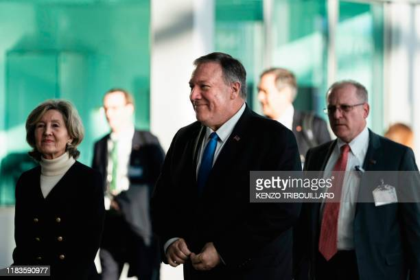 US Secretary of State Mike Pompeo arrives for a NATO Foreign Affairs ministers' summit at the NATO headquarters in Brussels on November 20 2019 NATO...