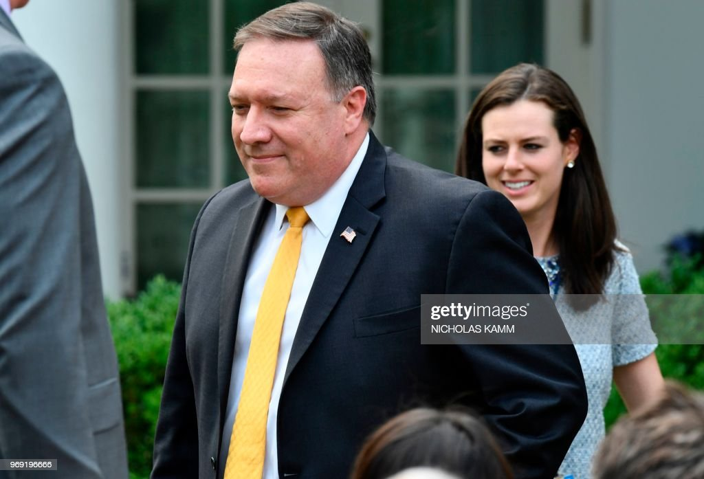 US Secretary of State Mike Pompeo arrives for a press conference between US President Donald Trump and Japan's Prime Minister Shinzo Abe in the Rose Garden of the White House on June 7, 2018 in Washington, DC.