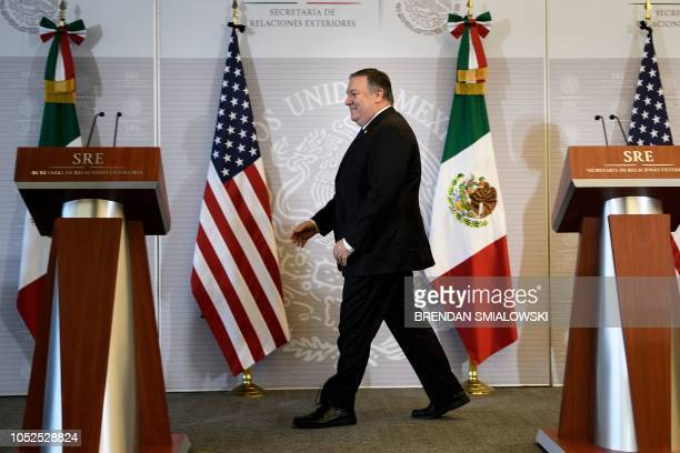 US Secretary of State Mike Pompeo arrives for a press conference with Mexico's Foreign Minister Luis Videgaray Caso at the Ministry of Foreign...