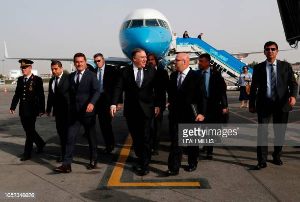 S Secretary of State Mike Pompeo arrives in Ankara Turkey October 17 2018 US Secretary of State Mike Pompeo on Wednesday held talks with the Turkish...