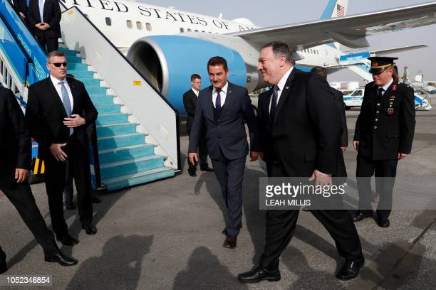 US Secretary of State Mike Pompeo arrives in Ankara Turkey October 17 2018 US Secretary of State Mike Pompeo on Wednesday held talks with the Turkish...