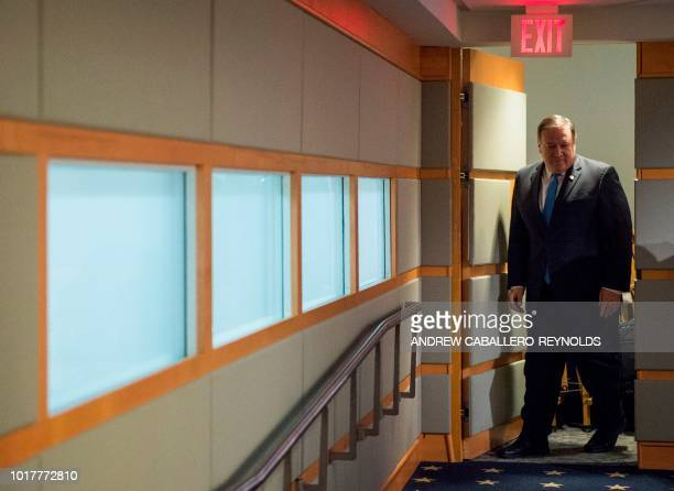 US Secretary of State Mike Pompeo arrives to announce the creation of the 'Iran Action Group' during a press briefing at the State department in...