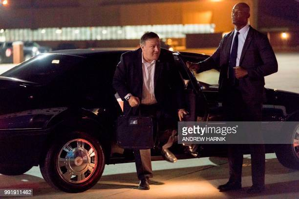 US Secretary of State Mike Pompeo arrives to board his plane at Andrews Air Force Base in Maryland on July 5 to travel to Anchorage Alaska on his way...