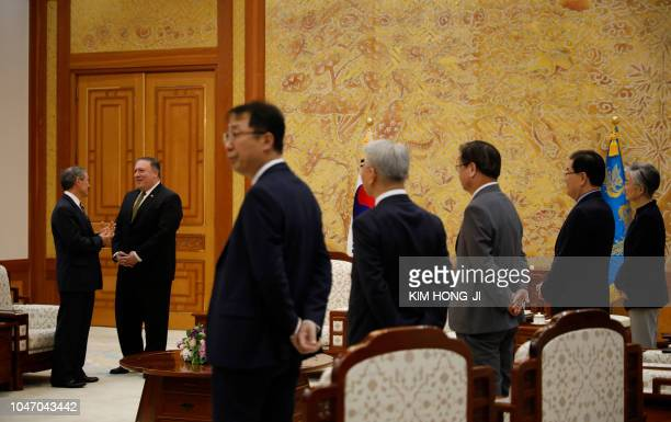 US Secretary of State Mike Pompeo arrives to meet with South Korean President Moon Jaein during a meeting at the presidential Blue House in Seoul on...