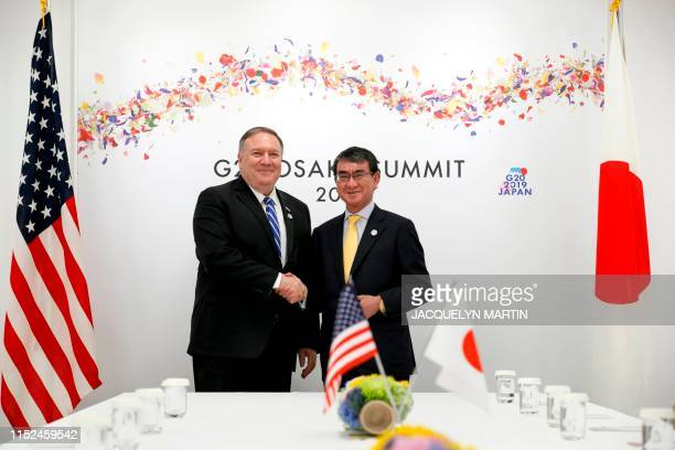 US Secretary of State Mike Pompeo attends a meeting with Japanese Foreign Minister Taro Kono during the G20 summit in Osaka on June 28 2019