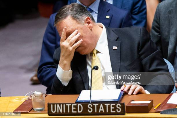 S Secretary of State Mike Pompeo attends a Security Council meeting at the United Nations on August 20 2019 in New York City Prior to the meeting on...