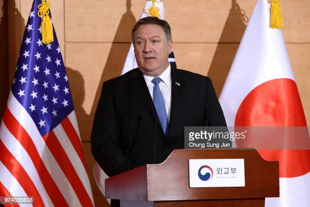 S Secretary of State Mike Pompeo attends the joint press conference with Japanese Foreign Minister Taro Kono South Korean foreign minister Kang...
