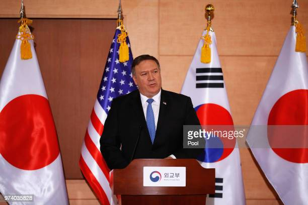 S Secretary of State Mike Pompeo attends the joint press conference with South Korean Foreign Minister Kang Kyungwha and Japanese Foreign Minister...