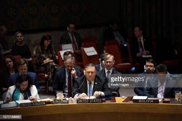 S Secretary of State Mike Pompeo attends the United Nations Security Council meeting on Iran at the United Nations on December 12 2018 in New York...