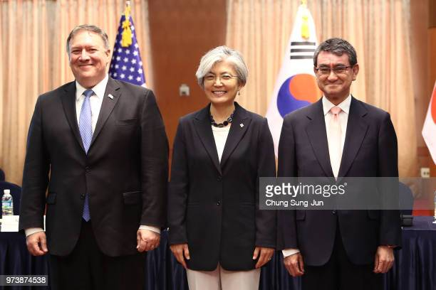S Secretary of State Mike Pompeo attends with South Korean Foreign Minister Kang Kyungwha and Japanese Foreign Minister Taro Kono before their...