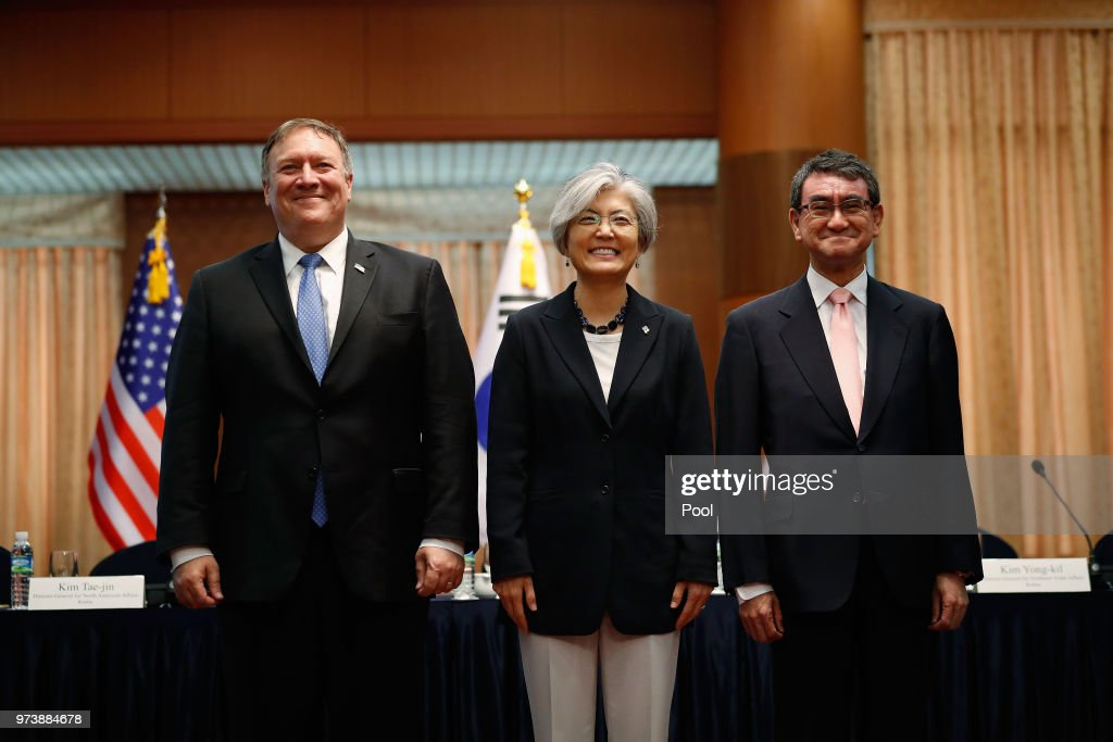 U.S. Secretary of State Mike Pompeo attends with South Korean Foreign Minister Kang Kyung-wha and Japanese Foreign Minister Taro Kono before their meeting at foreign ministry on June 14, 2018 in Seoul, South Korea. U.S. Secretary of State Mike Pompeo visited South Korea to meet South Korea's President Moon Jae-in and Japan's Foreign Minister following a landmark meeting between U.S. President Donald Trump and North Korean leader Kim Jong-un.
