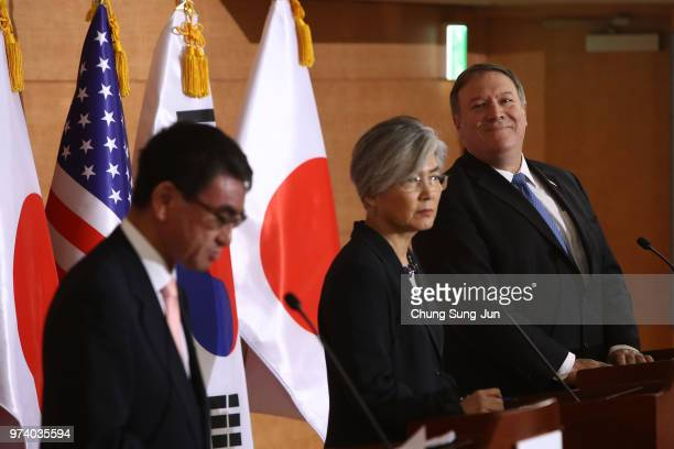 S Secretary of State Mike Pompeo attends with South Korean Foreign Minister Kang Kyungwha and Japanese Foreign Minister Taro Kono during their joint...