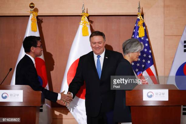 S Secretary of State Mike Pompeo attends with South Korean Foreign Minister Kang Kyungwha and Japanese Foreign Minister Taro Kono during their...