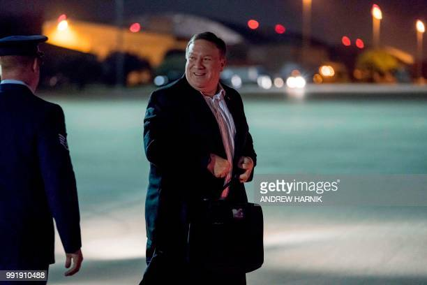 US Secretary of State Mike Pompeo boards his plane at Andrews Air Force Base in Maryland on July 5 to travel to Anchorage Alaska on his way to...