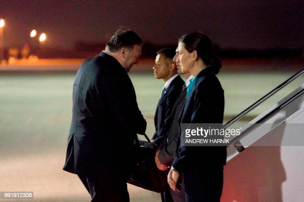 Secretary of State Mike Pompeo boards his plane at Andrews Air Force Base in Maryland on July 5 to travel to Anchorage, Alaska on his way to...