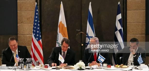 US Secretary of State Mike Pompeo Cypriot President Nicos Anastasiades Israeli Prime Minister Benjamin Netanyahu and Greek Prime Minister Alexis...