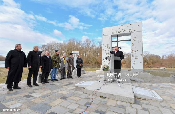 US Secretary of State Mike Pompeo delivers a speech as he visits the Gate to Freedom Memorial in the village of Devin near Bratislava Slovakia on...