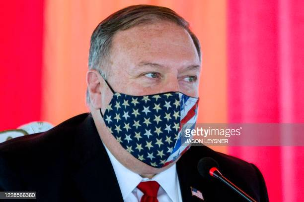 US Secretary of State Mike Pompeo delivers a speech in Paramaribo Surinam on September 17 2020 Pompeo started Thursday his South American tour in...