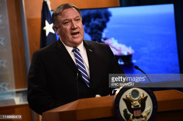 US Secretary of State Mike Pompeo delivers remarks to the media at the State Department in Washington DC on June 13 2019 US Secretary of State Mike...