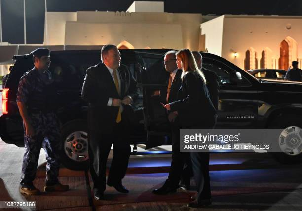 US Secretary of State Mike Pompeo departs the Omani capital Muscat on January 14 2019