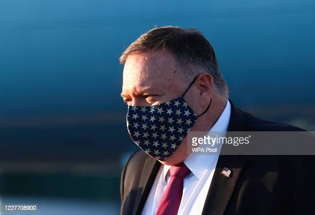 S Secretary of State Mike Pompeo disembarks his plane upon arrival on July 20 2020 in London England