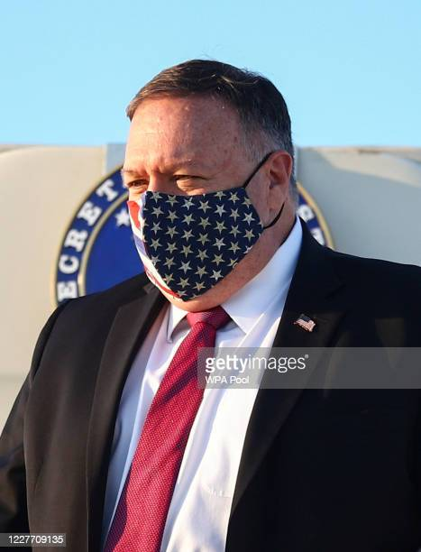 Secretary of State Mike Pompeo disembarks his plane upon arrival on July 20, 2020 in London, England.