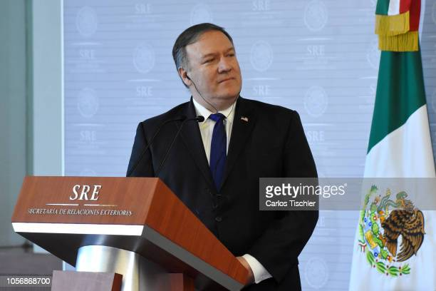 S Secretary of State Mike Pompeo gestures during a press conference as part of an official visit to Mexico at Secretariat of Foreign Affairs on...