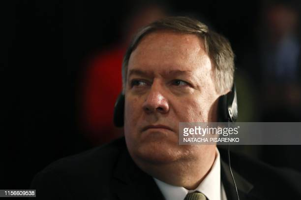 US Secretary of State Mike Pompeo gestures during the Western Hemisphere Counterterrorism Ministerial in Buenos Aires Argentina on July 19 2019