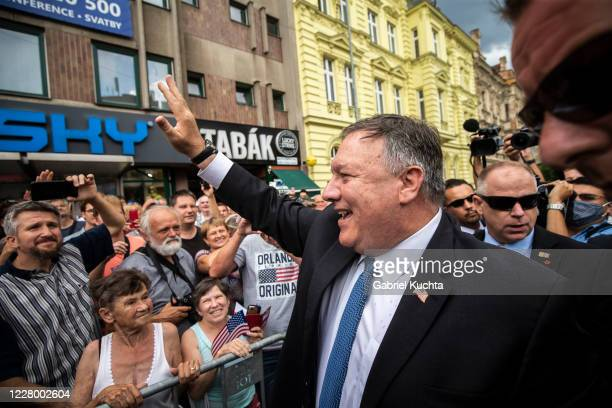 Secretary of State Mike Pompeo greets the residents of the city of Pilsen after a ceremony at the Thank You America memorial to commemorate...