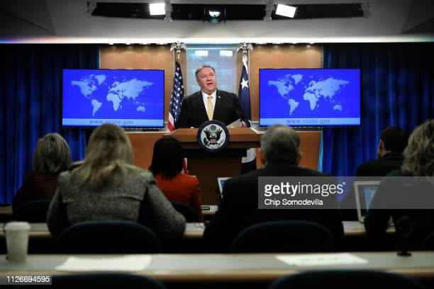 Secretary of State Mike Pompeo holds a news briefing at the State Department February 01, 2019 in Washington, DC. Citing Russia's violation of the...