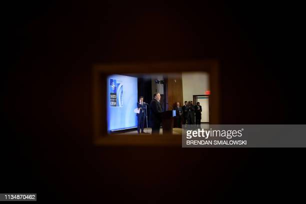 US Secretary of State Mike Pompeo holds a press conference after meetings of NATO foreign ministers during the 70th anniversary of the alliance at...