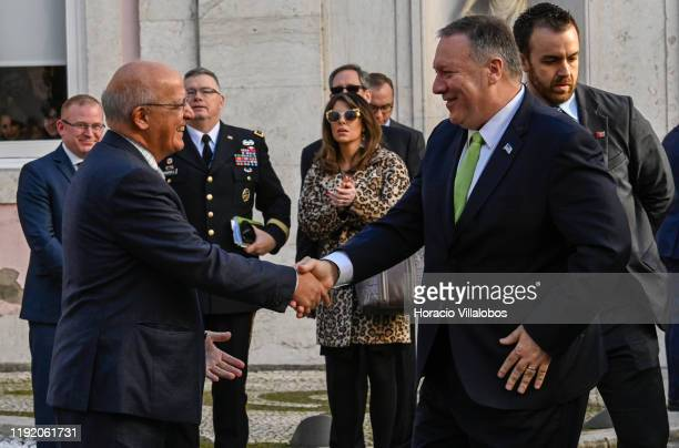 Secretary of State Mike Pompeo is greeted by Portuguese Foreign Minister Augusto Santos Silva in Palacio das Necessidades on December 05, 2019 in...