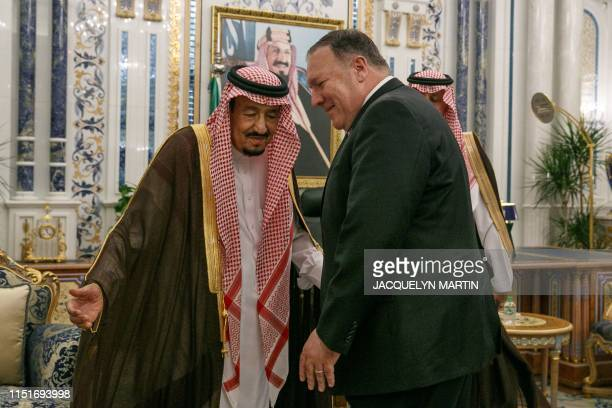 US Secretary of State Mike Pompeo is received by Saudi King Salman bin Abdulaziz at Al Salam Palace in the Red Sea city of Jeddah on June 24 2019...