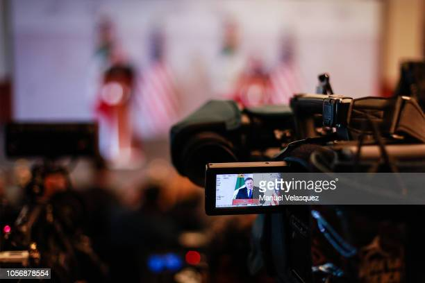 S Secretary of State Mike Pompeo is seen through a camera screen as he gives a speech during an official visit to Mexico at at Secretariat of Foreign...