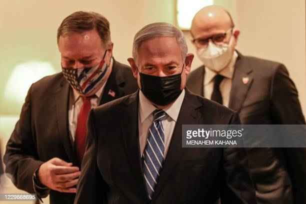 Secretary of State Mike Pompeo, Israeli Prime Minister Benjamin Netanyahu, and Bahrain's Foreign Minister Abdullatif bin Rashid Al Zayani, all...