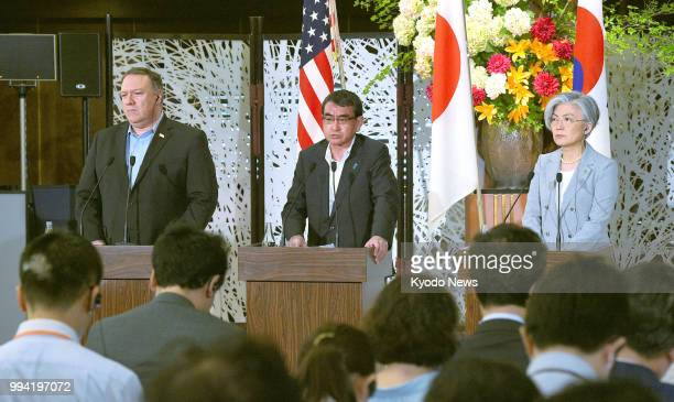 US Secretary of State Mike Pompeo Japanese Foreign Minister Taro Kono and South Korean Foreign Minister Kang Kyung Wha attend a press conference...