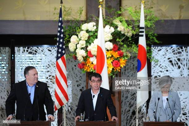 US Secretary of State Mike Pompeo Japan's Foreign Minister Taro Kono and South Korea's Foreign Minister Kang Kyungwha attend a press conference at...