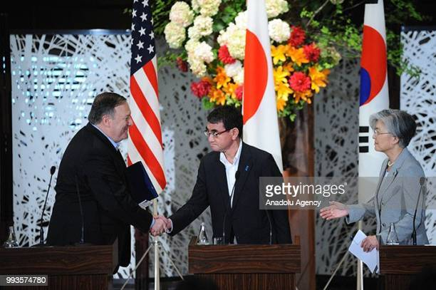 S Secretary of State Mike Pompeo Japan's Foreign Minister Taro Kono and South Korean Foreign Minister Kang Kyung Wha shake hands at the end of the...